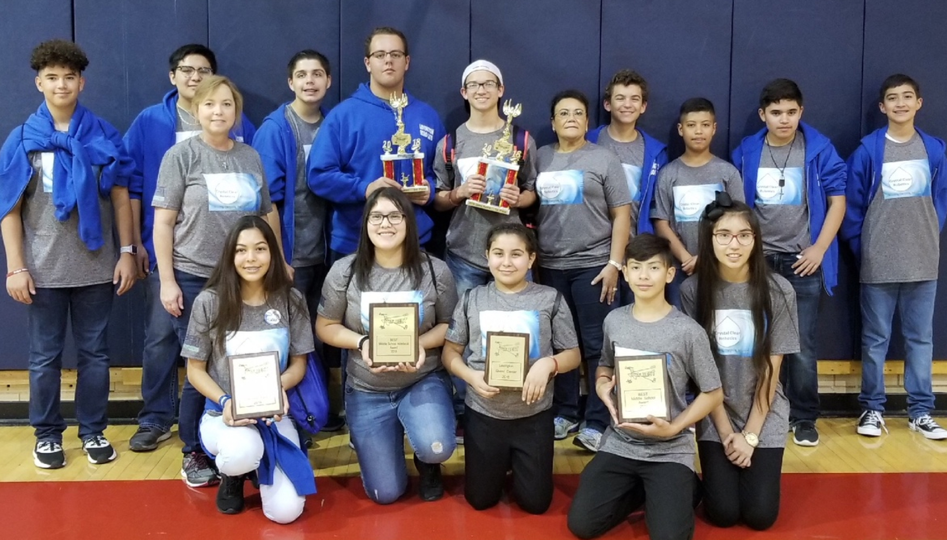 The Lovington Robocats Robotics Team at a 2019 regional competition in Dallas, Texas.